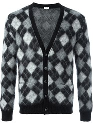 Saint Laurent Harlequin Knitted Cardigan Black