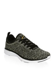 Athletic Propulsion Labs Round Toe Casual Sneakers Black Silver Gold