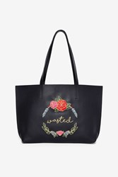 Skinnydip London Wasted Embroidered Tote Bag Black