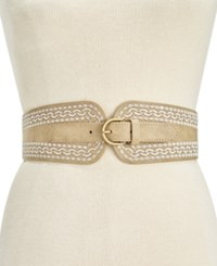 Inc International Concepts Embroidered Stretch Belt Only At Macy's Natural