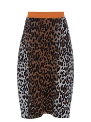 Stella Mccartney Leopard Jacquard Knitted Pencil Skirt