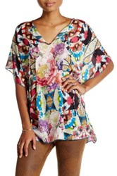Johnny Was Printed Silk Kaftan Blouse Multi