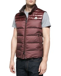Moncler Dupres Quilted Puffer Vest Burgundy Red