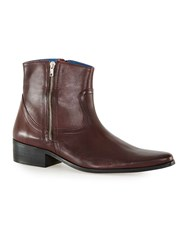 Topman Red Burgundy Leather Double Zip Boots