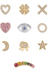 Loquet Send A Kiss 18 Karat Yellow And White Gold Diamond And Sapphire Charms Wish