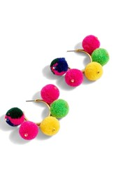 J.Crew Pompom Hoop Earrings Multi Color
