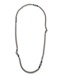 Hipchik Marly Blue Pearl And Long Chain Necklace