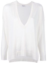 Brunello Cucinelli V Neck Blouse White