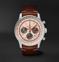 Breitling Navitimer B01 Twa Automatic Chronograph 43Mm Stainless Steel And Leather Watch Ref. No. Ab01219a1g1x2 White