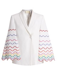 Sara Battaglia Shawl Collar Wave Embroidered Cady Jacket White Multi