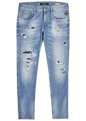 Replay Anbass Distressed Skinny Jeans Blue
