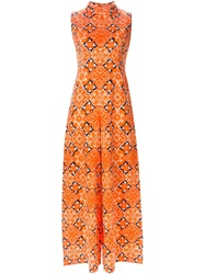 Givenchy Vintage Flower Print Jumpsuit Yellow And Orange