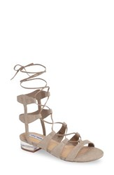 Steve Madden Women's Chely Lace Up Sandal Taupe Suede