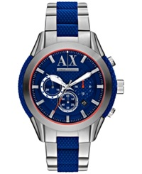 Ax Armani Exchange Men's Chronograph Blue Silicone And Stainless Steel Bracelet Watch 47Mm Ax1386