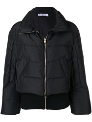 Versace Collection Full Zipped Puffer Jacket Black