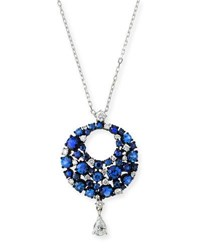 Mariani Eclipse Diamond And Blue Sapphire Pendant Necklace In 18K White Gold