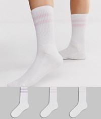 French Connection Sports Stripe 3 Pack Socks In Purple Hues White