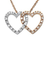 Lord And Taylor Diamond Double Heart Pendant Necklace Two Tone Gold