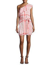 Collective Concepts Printed One Shoulder Mini Dress Coral Off White
