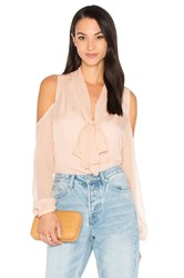 Haute Hippie The Vida Cold Shoulder Blouse Pink