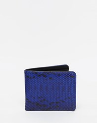 Asos Wallet With Snakeskin Effect And Contrast Internal Blue