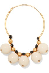 Marni Gold Plated Resin Necklace White