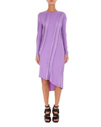 Atlein Asymmetric Long Sleeve Ribbed Midi Dress Lilac