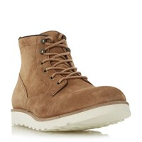 Dune Conrad Wedge Sole Lace Up Boots Tan