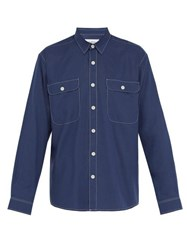 Schnayderman's Topstitched Double Patch Pocket Shirt Blue