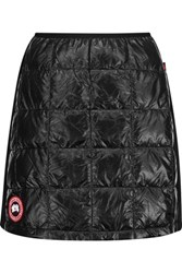 Canada Goose Hybridge Lite Jersey Paneled Quilted Shell Down Mini Skirt Black