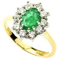 Turner And Leveridge 1980S 18Ct Gold Oval Emerald And Diamond Surround Cluster Ring