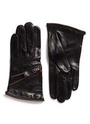 Maison Fabre Zip Lambskin Leather Short Gloves Black