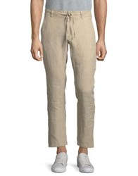 Black Brown Drawstring Fitted Linen Pants Natural