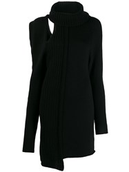 Patrizia Pepe Asymmetric Roll Neck Dress Black