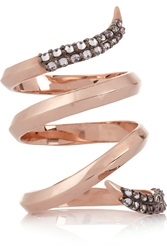 Katie Rowland Zelle Twisted 18 Karat Rose Gold Plated Quartz Ring Metallic