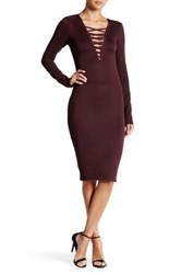 Wow Couture Crisscross V Neck Bandage Dress Purple