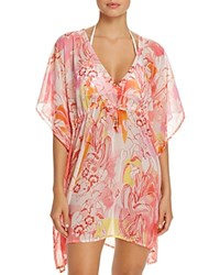 Echo Seaside Floral Tunic Swim Cover Up Coral