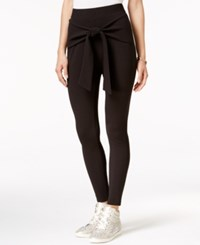Material Girl Wrap Front Textured Slim Pants Only At Macy's Black