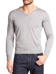 Canali Cashmere And Silk V Neck Sweater Light Grey Bright Blue