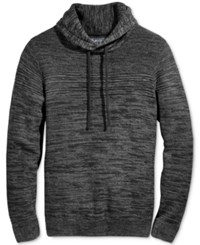 American Rag Men's Mix Stitch Funnel Neck Sweater Only At Macy's Deep Black Marl