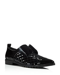 Alice Olivia Gia Patent Quilted Oxford Flats Black