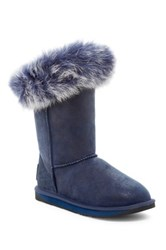 Australia Luxe Collective Foxy Short Hidden Wedge Genuine Fox Fur And Shearling Boot Blue