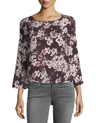 Cupcakes And Cashmere Jerrin Button Down Back Floral Print Blouse Purple