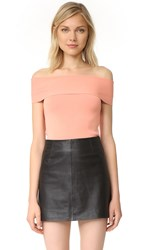 Alexander Wang Rib Knit Off Shoulder Top Salmon