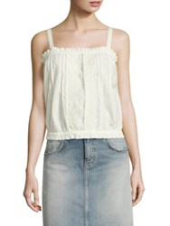 Current Elliott The Lace Cotton Eyelet Tank Top Star White
