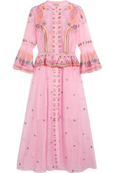 Temperley London Wildflower Embroidered Cotton And Silk Blend Midi Dress Pink