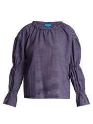 Mih Jeans Long Sleeved Gingham Cotton Blend Top Purple Multi
