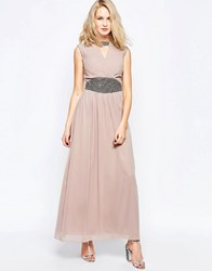 Little Mistress Maxi Dress With Wrap Front And Waist Detail Nude Cream