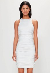 Missguided White Sleeveless Ruched Side Mini Dress