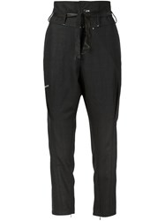 Umitunal High Waisted Cropped Trousers Black